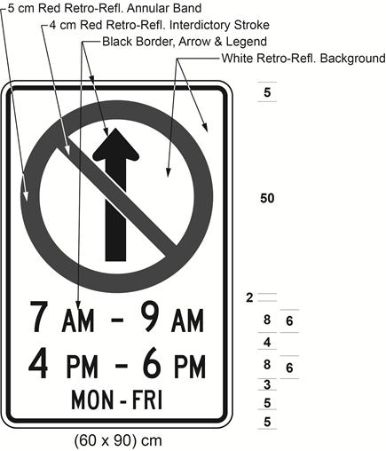 Illustration of sign with a no proceeding straight symbol, text 7 AM - 9 AM, 4 PM - 6 PM, and MON-FRI.