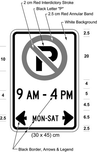 Illustration of sign with a no parking symbol, text 9 AM - 4 PM, MON-SAT with left and right arrows.