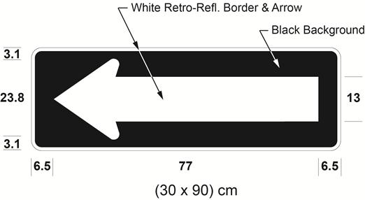 Illustration of sign with white arrow pointing left on black background.