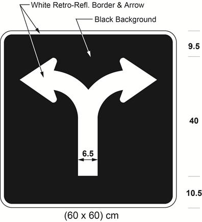Illustration of sign with branching white arrow curving left and curving right on black background.