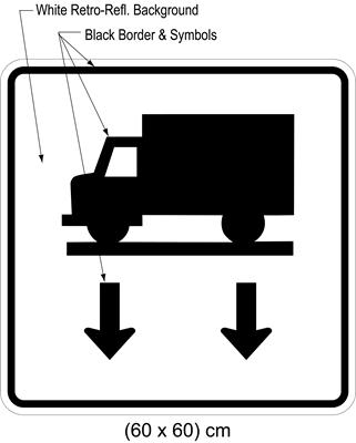 Illustration of sign with symbol of truck on road above two arrows pointing down.