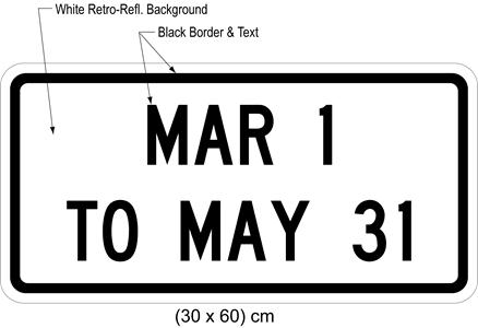Illustration of tab sign with text MAR 1 TO MAY 31.