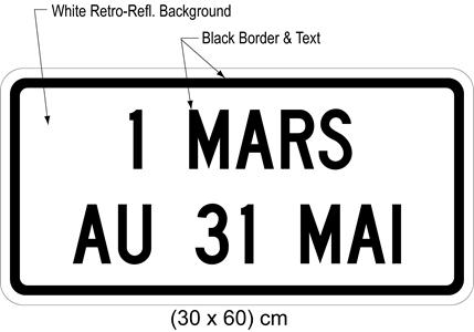 Illustration of tab sign with text 1 MARS AU 31 MAI.