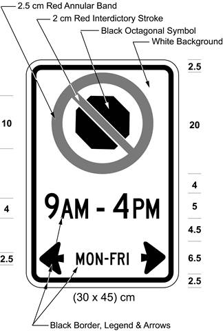 Illustration of sign with a no stopping symbol and text 9 AM - 4 PM, MON-FRI with arrows pointing left and right.