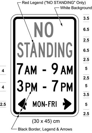 Illustration of sign with red text NO STANDING and text 7 AM - 9 AM, 3 PM - 7 PM, and MON-FRI with arrows.