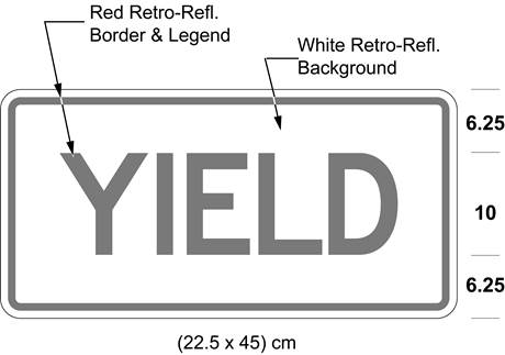 Illustration of tab sign with red text YIELD on white background with red border.