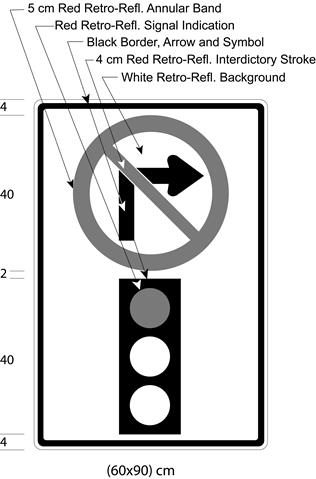 Illustration of sign with a no right turn symbol above symbol of traffic signal with red light on.