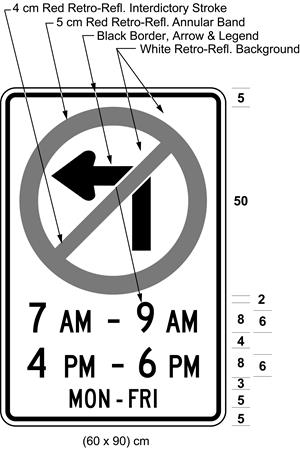 Illustration of sign with a no left turn symbol, text 7 AM - 9 AM, 4 PM - 6 PM, MON-FRI.