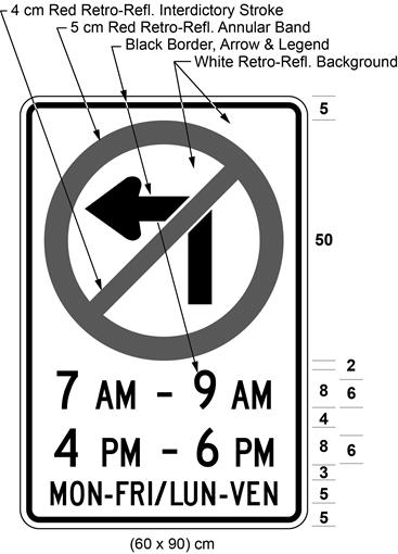 Illustration of sign with a no left turn symbol, text 7 AM - 9 AM, 4 PM - 6 PM, MON-FRI/LUN-VEN.