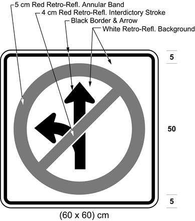 Illustration of sign with a no left turn or proceeding straight symbol.