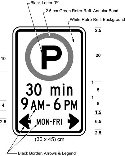 Illustration of sign with permissive parking symbol, text 30 min, 9 AM - 6 PM, MON-FRI with left and right arrows.