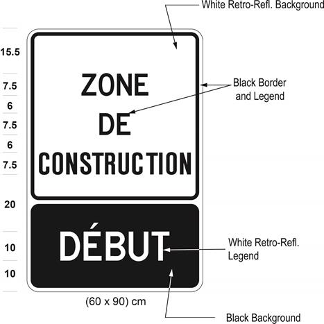 Illustration of sign with text ZONE DE CONSTRUCTION above tab sign with white text DÉBUT on black background.