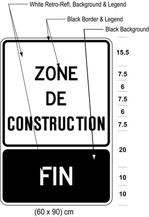 Illustration of sign with text ZONE DE CONSTRUCTION above tab sign with white text FIN on black background.