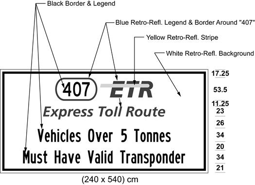 Illustration of sign with 407 ETR symbol and text Vehicles Over 5 Tonnes Must Have Valid Transponder.