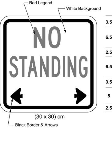 Illustration of sign with red text NO STANDING with black arrows pointing left and right.