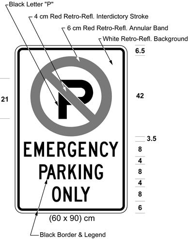 Illustration of sign with a no parking symbol above text EMERGENCY PARKING ONLY.