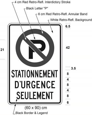 Illustration of sign with a no parking symbol above text STATIONNEMENT D'URGENCE SEULEMENT.