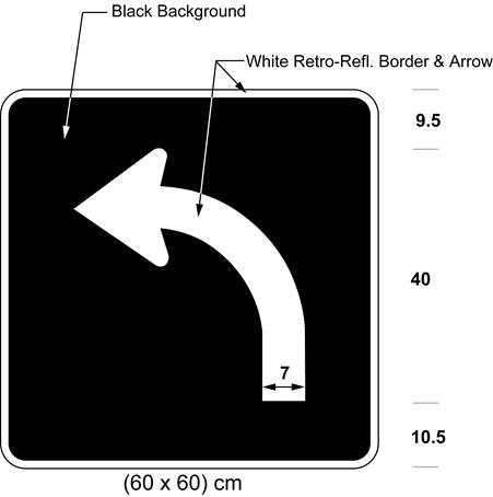 Illustration of sign with white arrow curving left on black background.