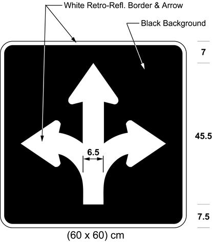 Illustration of sign with branching white arrows curving left, curving right and proceeding straight on black background.