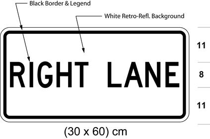 Illustration of tab sign with text RIGHT LANE.