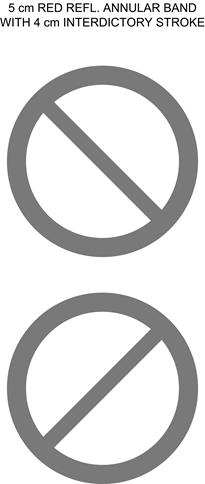Illustration of two red circular interdictory symbols with diagonal red strokes to the right and left.