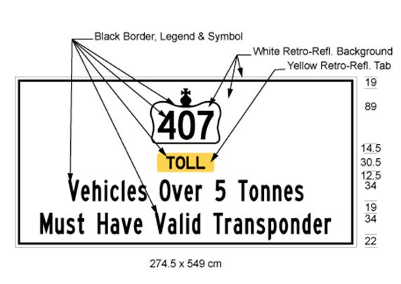 Illustration of sign with 407 inside Crown symbol, text Toll on yellow background and text Vehicles Over 5 Tonnes Must Have Valid Transponder on white background.