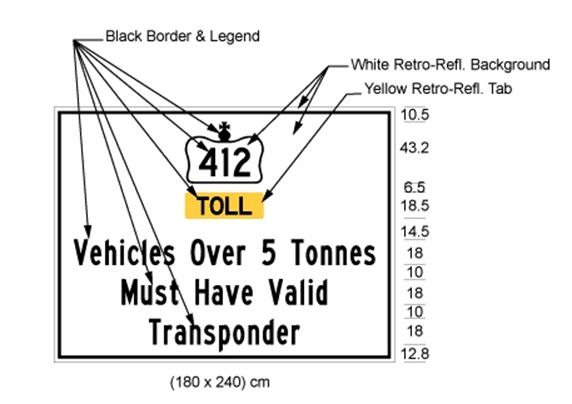 Illustration of sign with 412 inside Crown symbol, text Toll on yellow background and text Vehicles Over 5 Tonnes Must Have Valid Transponder on white background.