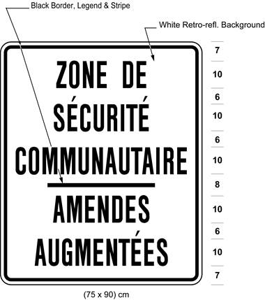 Illustration of sign with text ZONE DE SÉCURITÉ COMMUNAUTAIRE / AMENDES AUGMENTÉES.