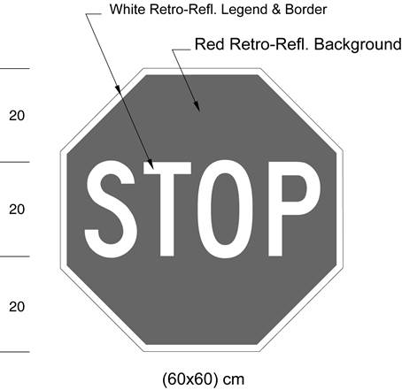 Illustration of sign with white text STOP on red octagonal background with white border.