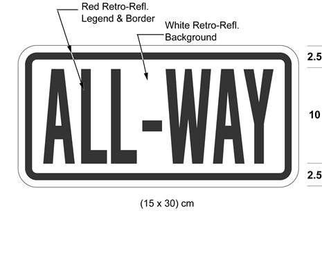 Illustration of tab sign with red text ALL-WAY on white background with red border.