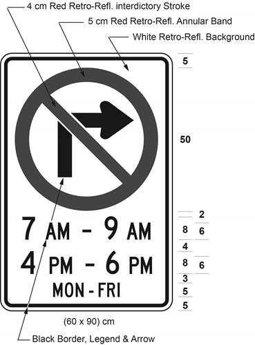 Illustration of sign with a no right turn symbol, text 7 AM - 9 AM, 4 PM - 6 PM, MON-FRI.
