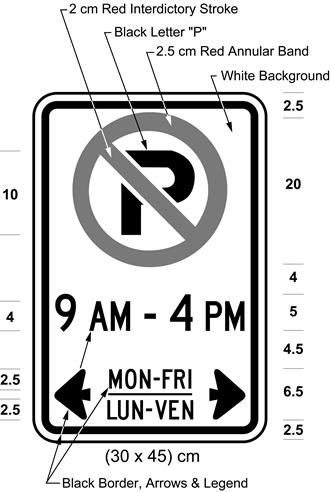 Illustration of sign with a no parking symbol, text 9 AM - 4 PM, MON-FRI / LUN-VEN with left and right arrows.