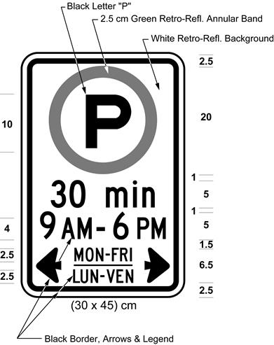 Illustration of sign with permissive parking symbol, text 30 min, 9 AM - 6 PM, MON-FRI / LUN-VEN with arrows.
