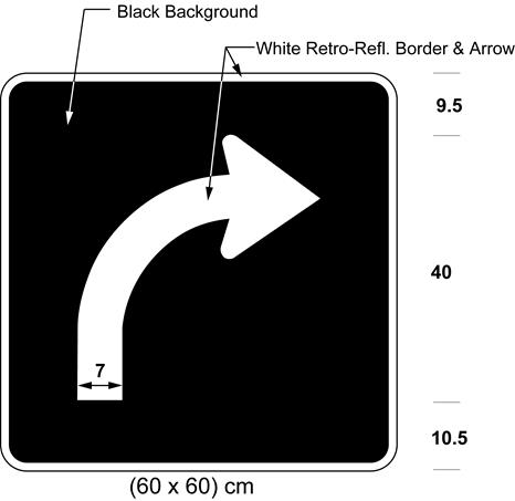 Illustration of sign with white arrow curving right on black background.