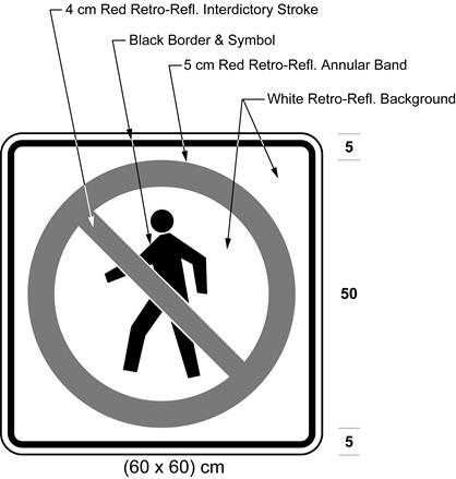Illustration of sign with pedestrian symbol inside red interdictory symbol on a white background.