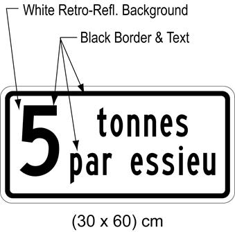 Illustration of tab sign with text 5 tonnes par essieu.