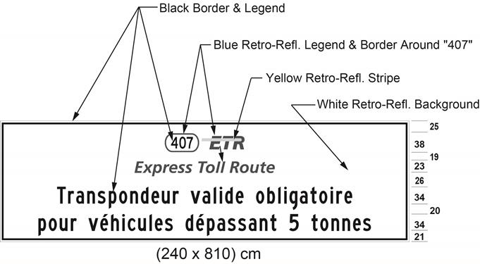 Illustration of sign with 407 ETR symbol and text Transpondeur valide obligatoire pour véhicules dépassant 5 tonnes.