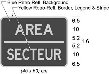 Illustration of tab sign with yellow text AREA / SECTEUR on blue background.
