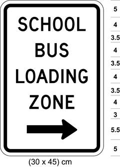 Illustration of sign with text SCHOOL BUS LOADING ZONE and arrow pointing right.