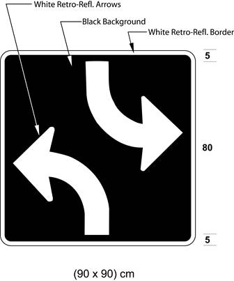 Illustration of sign with white arrows curving left from bottom of sign and curving right from top on black background.