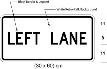 Illustration of tab sign with text LEFT LANE.