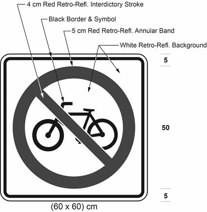 Illustration of sign with bicycle symbol inside a red interdictory symbol on white background.