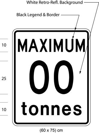 Illustration of sign with text MAXIMUM 00 tonnes.