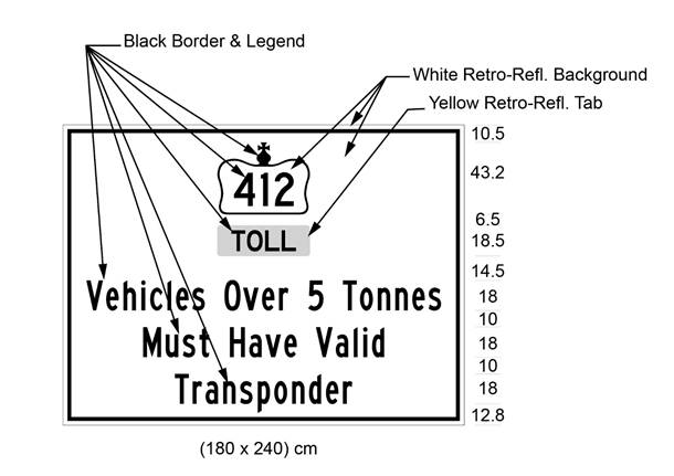 Illustration of sign with 412 in Crown over text Toll and Vehicles Over 5 Tonnes Must Have Valid Transponder.