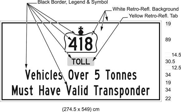 Illustration of sign with 418 in Crown over text Toll and Vehicles Over 5 Tonnes Must Have Valid Transponder.