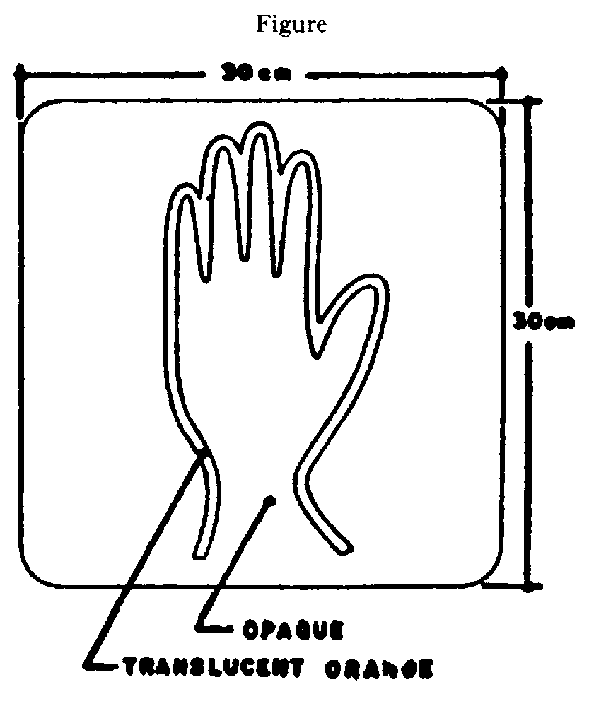 Illustration of Figure - a translucent orange silhouette of a hand on an opaque background in a 30 cm x 30 cm square.