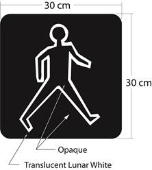Illustration of Figure 1 - outlined symbol of walking pedestrian in lunar white on opaque background in 30 cm x 30 cm square.