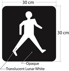 Illustration of Figure 2 - solid symbol of walking pedestrian in lunar white on opaque background in 30 cm x 30 cm square.