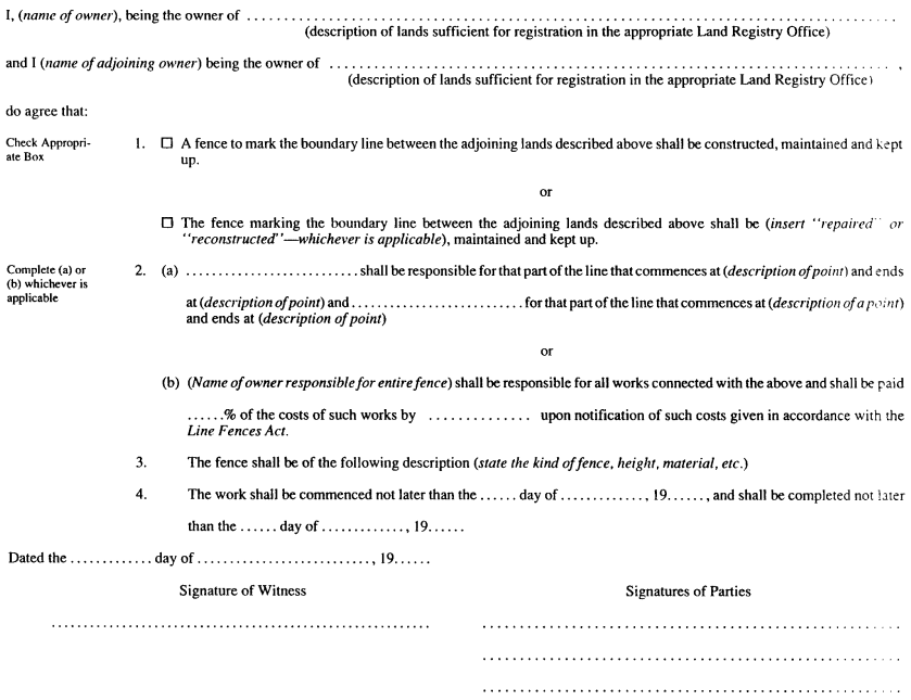 form 14 agreement section 16 of the act line fences act