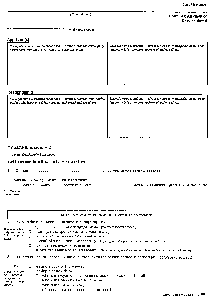 form 1 application ontario court of justice